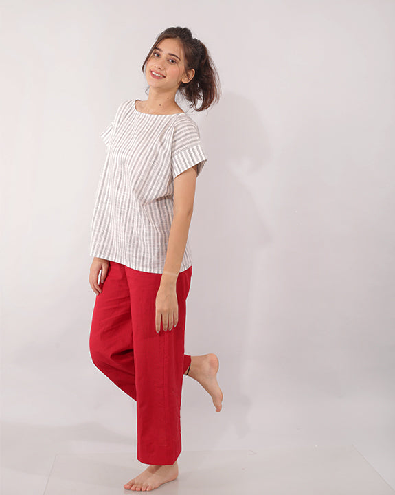 Bold Red Basic White Cotton - Set of 2