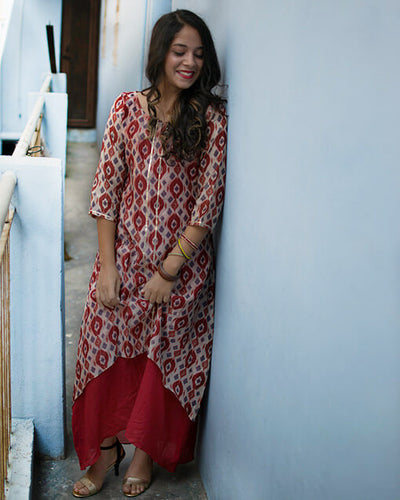 Red White Printed Chanderi Marina Dress
