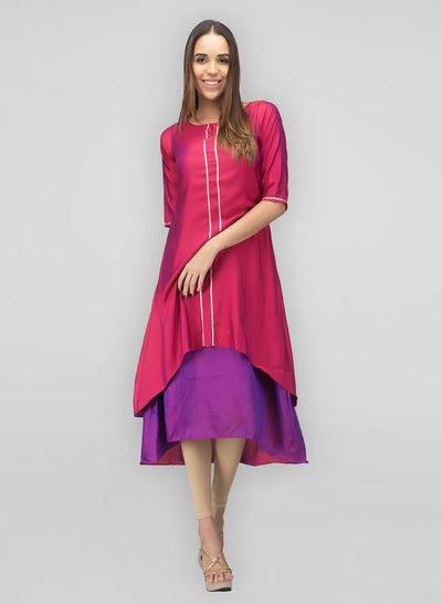 Pink Silk Layered Dress