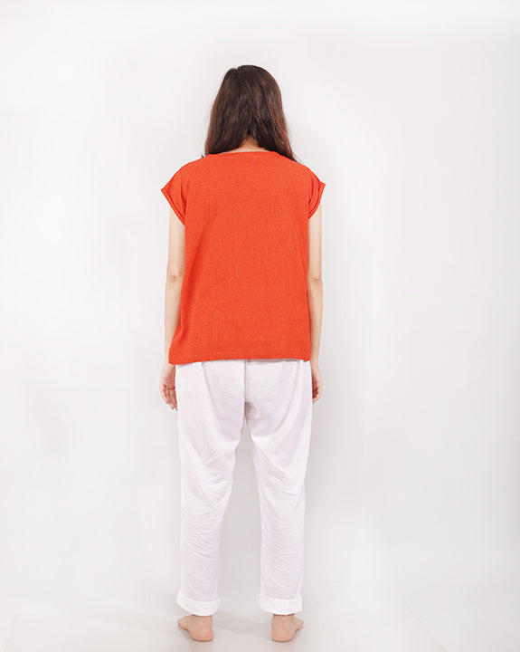 Rust top in cotton for women