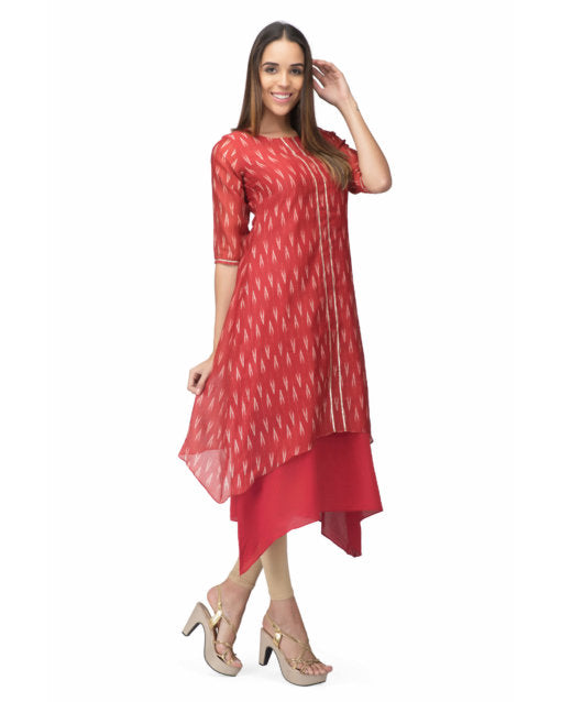 Red Chanderi Marina Dress