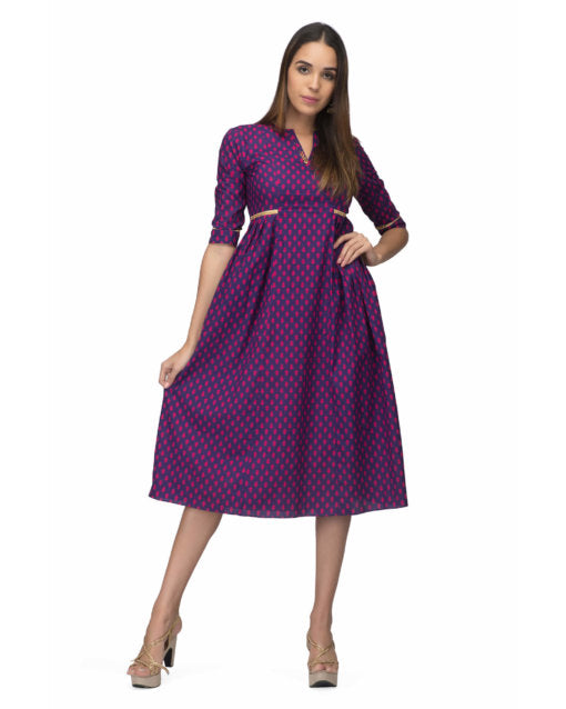 Purple Side Pleat Dress