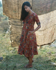 Raja Rani Kalamkari Shirt Dress In Red
