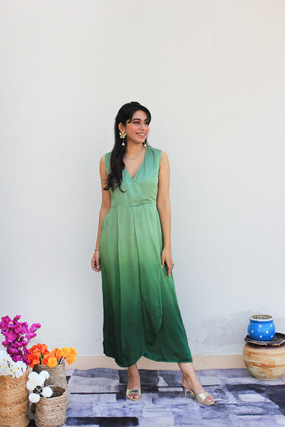 Sap Green Wrap Modal Dress