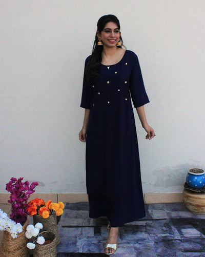 Midnight Blue Sparkle Long Dress For Women