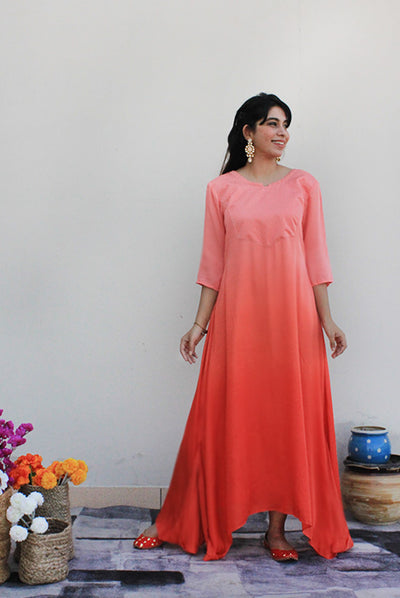 Women's Aline Tangerine Modal Long Dress