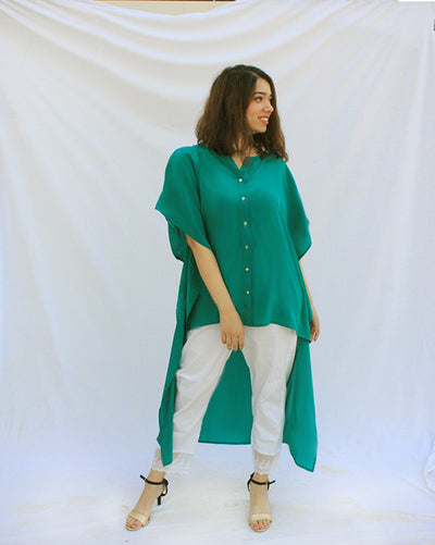 Teal Kaftan High Low Shirt For Women