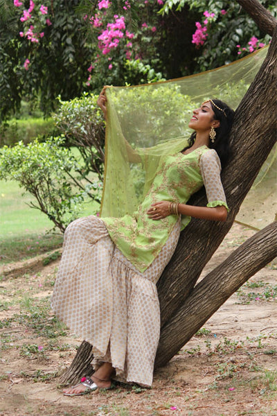 Buy this lovely kurta with gharara and dupatta from thesvaya
