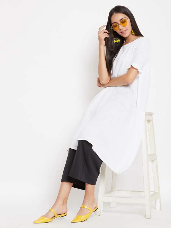 Making a classic black & white aline kurta & culotte set more fun with hints of all things yellow
