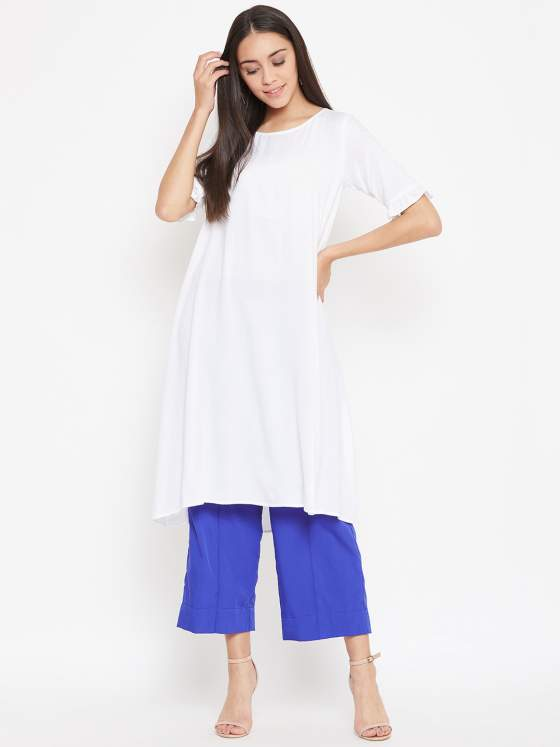 Up your fashion game with elevated classics with this aline white kurta and blue culottes
