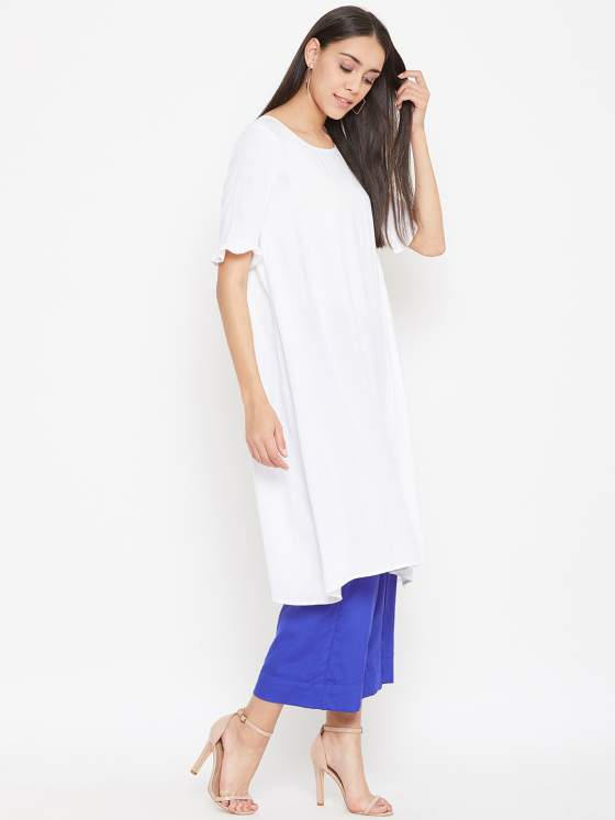 A pocket friendly set of 2 - an aline white kurta & blue crepe culottes