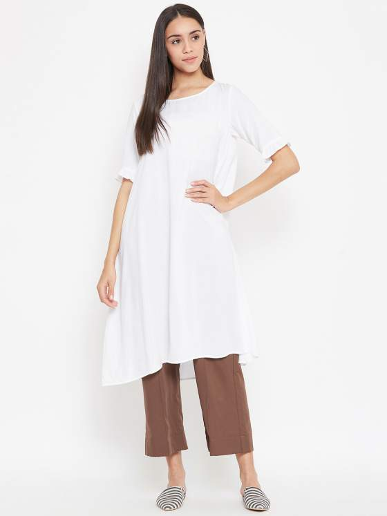 A premium quality rayon white kurta for women paired with androgynous culottes