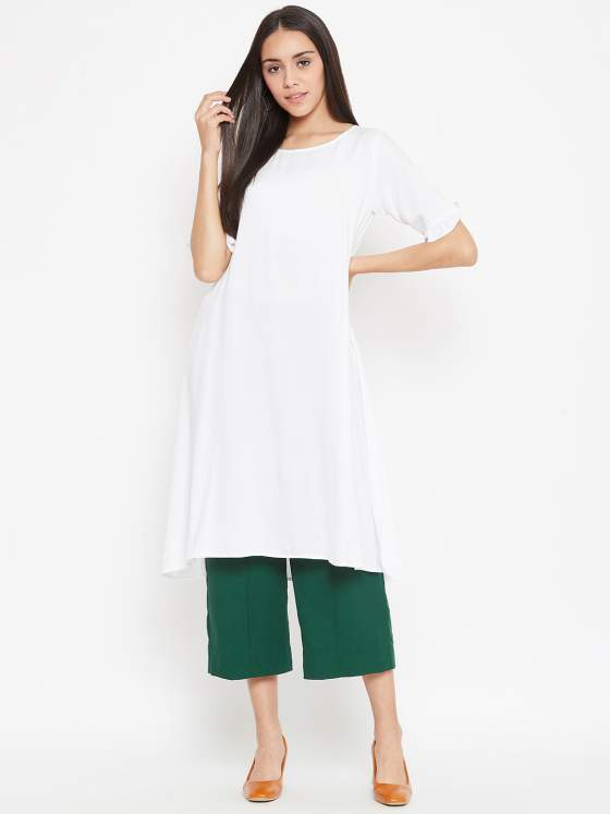 Pick this elevated basic set in white aline kurta and cropped palazzos