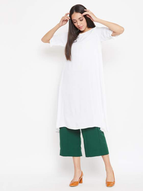 Aline white rayon kurta with green pants set