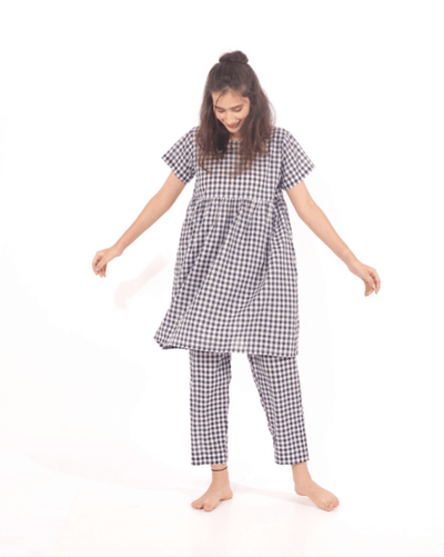 Comfy Checks Cotton Top & Pajamas - Set of 2