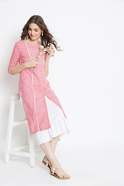 Women's pink lace kurta with white linen dress