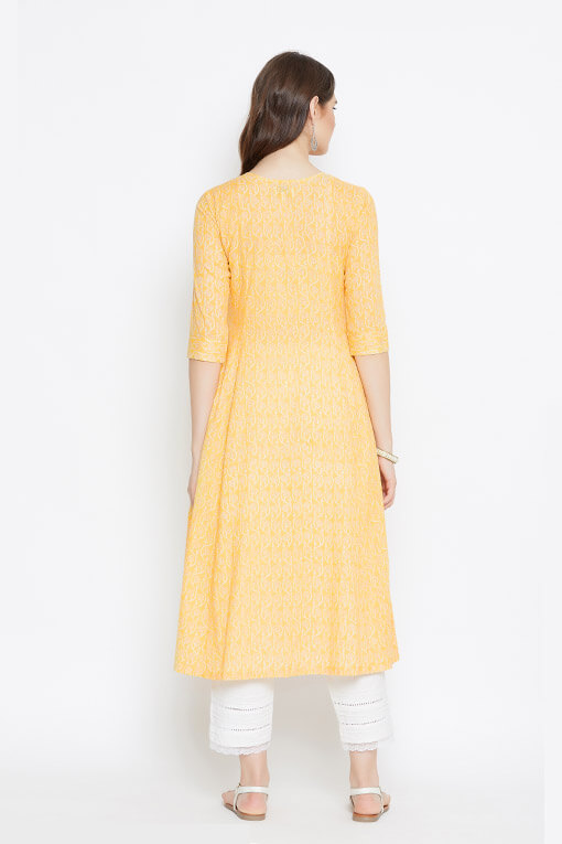 Long womens kurta in yellow with white pants