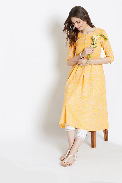 Women's Yellow A-Line Cotton Kurta With Pants – Set of 2