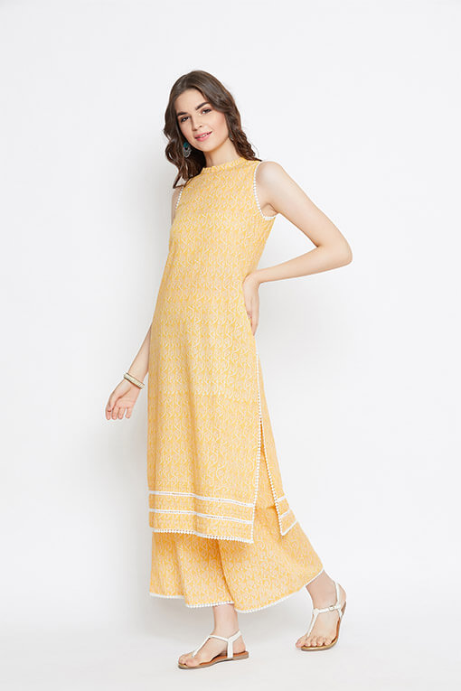 Yellow Lace Cotton Kurta Palazzo - Set of 2