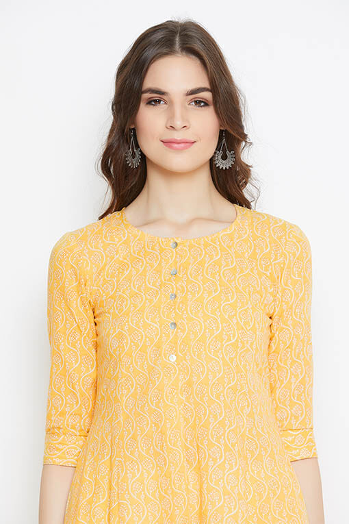 Buy screen printed yellow cotton kurta for women