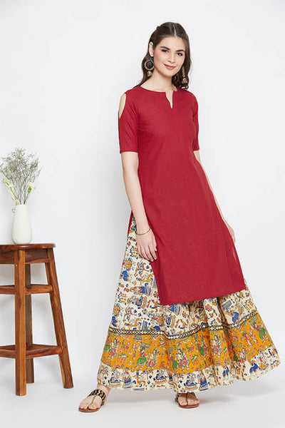 Red & Beige skirt and kurta set of 2