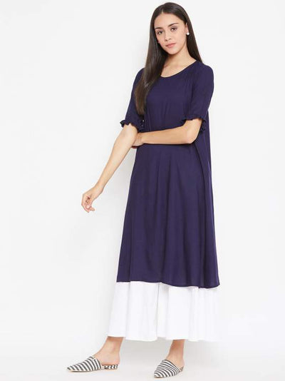 Aline Navy Blue Rayon Kurta For Women
