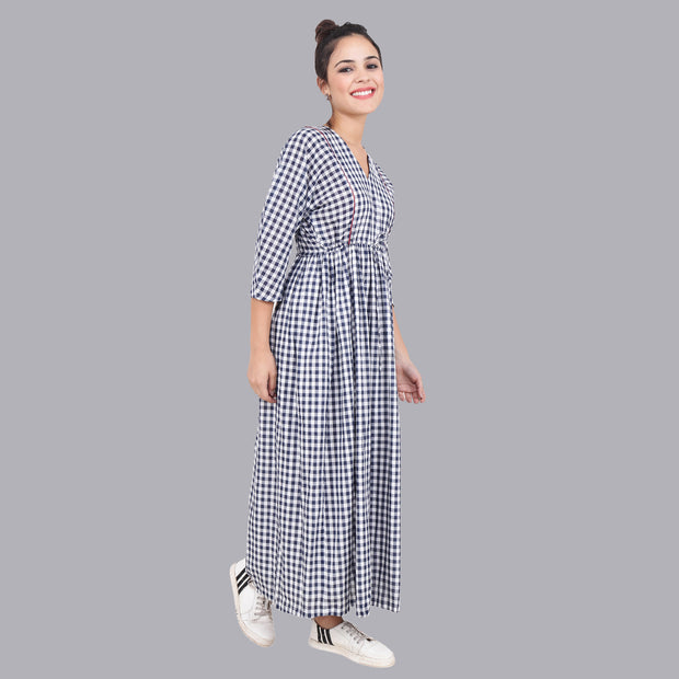Women's A-Line Gathered Checks Dress