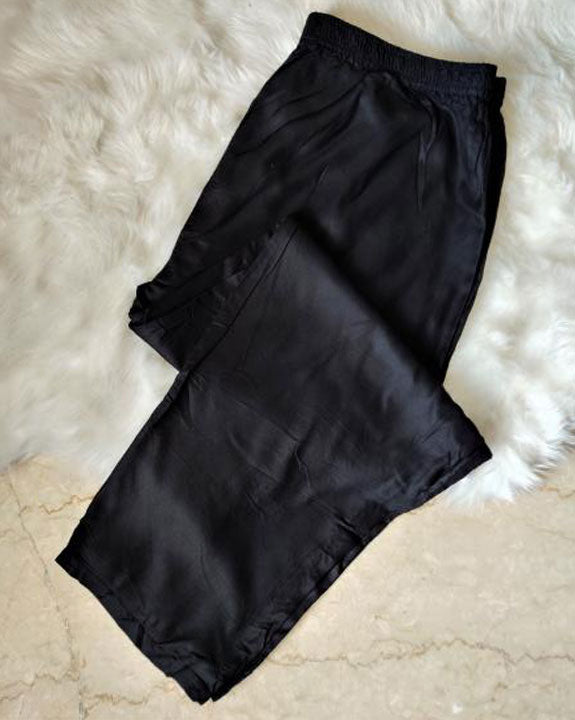 Black Cotton Lycra Pants For Women