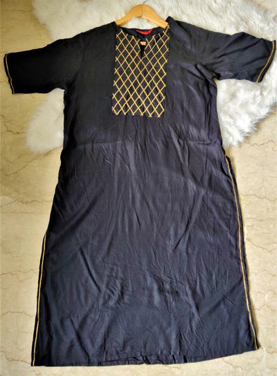 Black Gota Highlight Kurta For Women