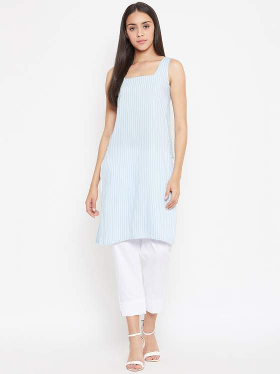 A classic blue striped kurta with a square neckline.