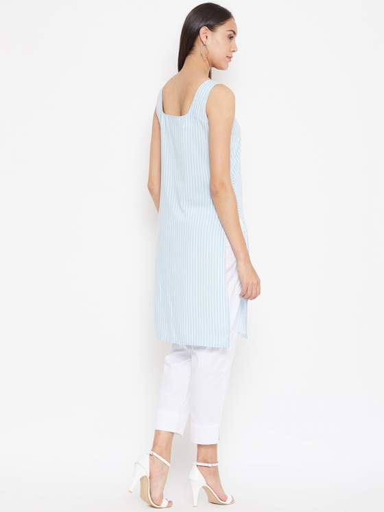 Women love nautical stripes and this blue striped kurta is just a perfect pick.