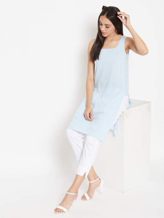 A summer friendly stripes kurta in blue
