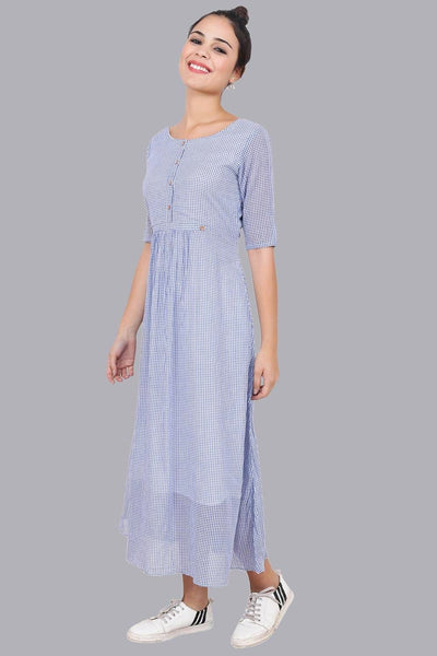 Women's Blue Checkered Maxi Dress