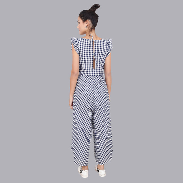 A tie back opening in our checks blue jumpsuit