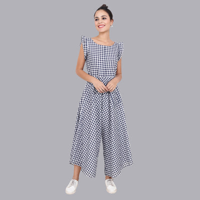 Women's Blue Plaid Jumpsuit