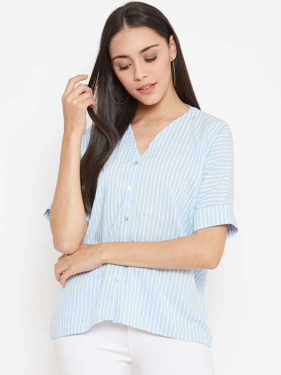 A comfortable blue and white striped top for your WFH calls