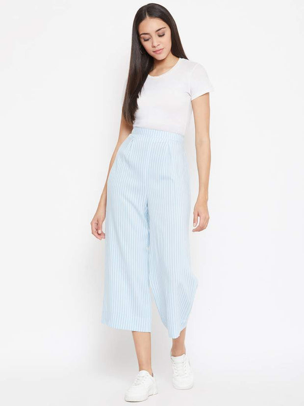 Pastel Blue Striped Culottes In Cotton