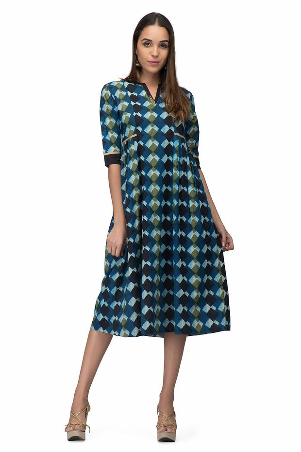 Abstract Blue Side Pleat Dress