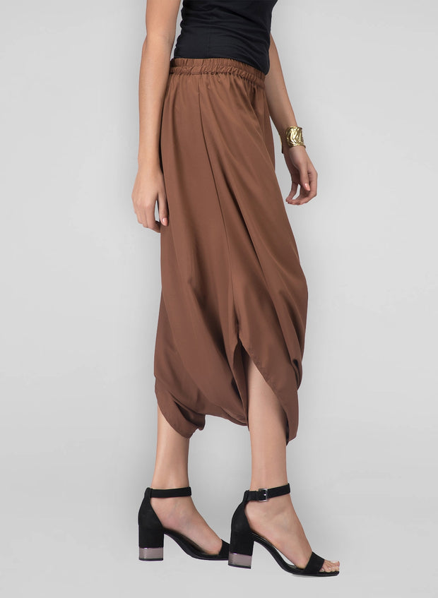 Brown cowl pants for women who love to dress up!