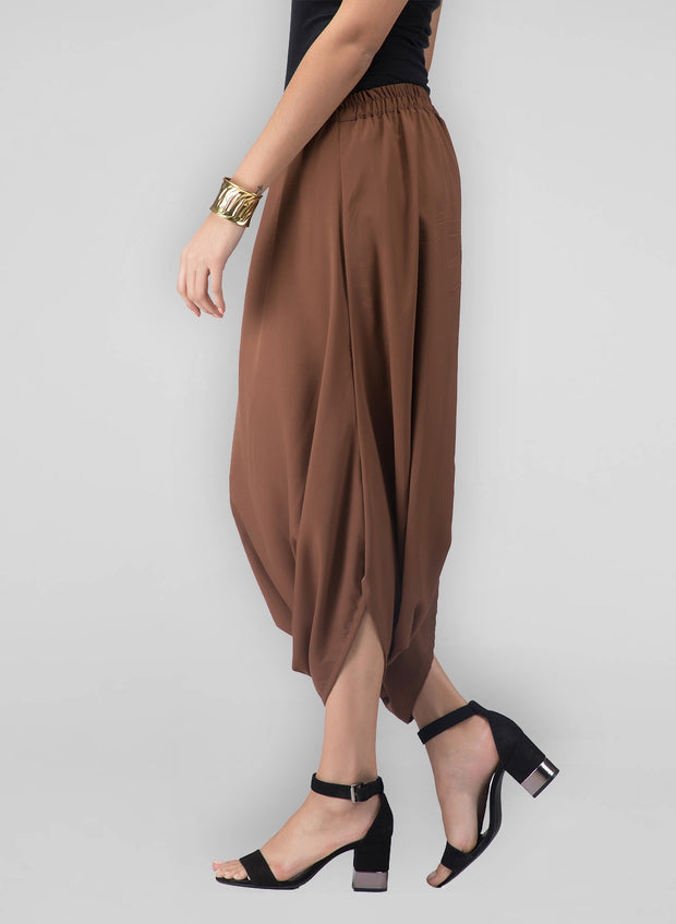 These brown cowl pants for women are headturners