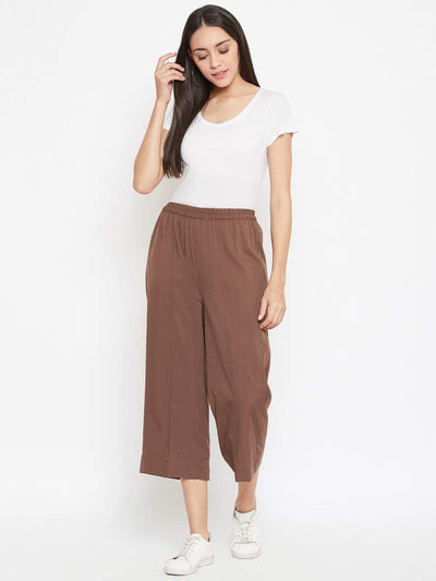 Brown Crepe Pants