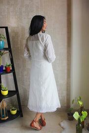 Cotton Silk Pintucked Dress