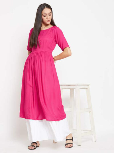 Pink Gathered Kurta with White Kalidaar Palazzo