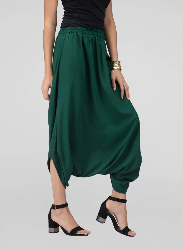 Dark green cowl pants for women