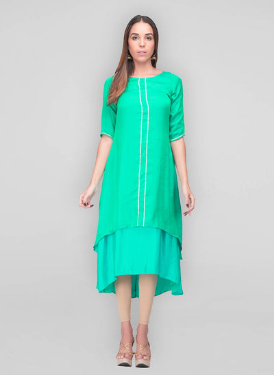 Green Silk layered dress