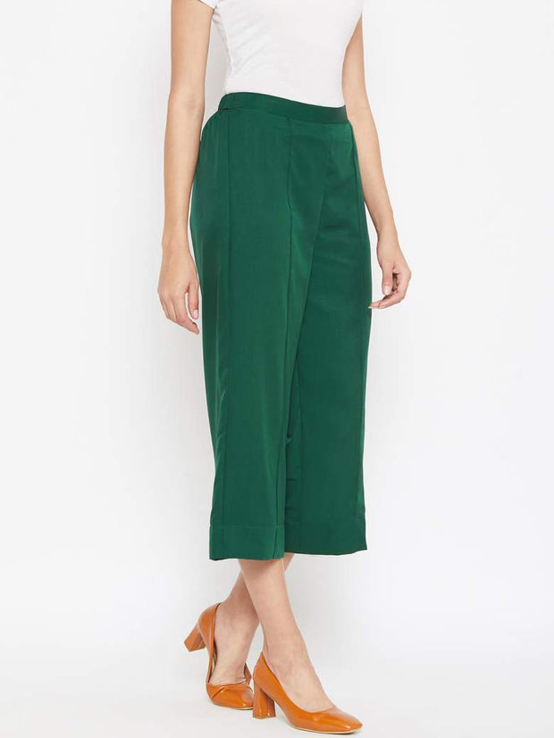 Women's dark green cropped palazzos online