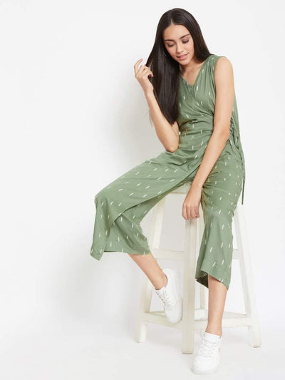 Leaf Green Wrap Jumpsuit