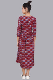 Women's Maroon Gathered Maxi Dress
