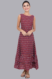 Women's Maroon Tiered Maxi Dress