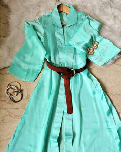 Mint Georgette Satin Overlay